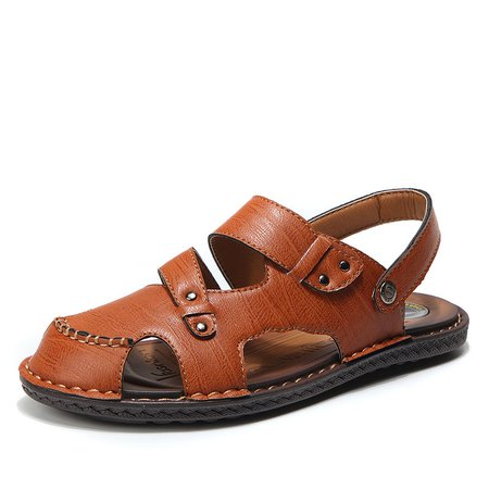 Men Closed Toe Adjustable Hollow Out Leather Sandals