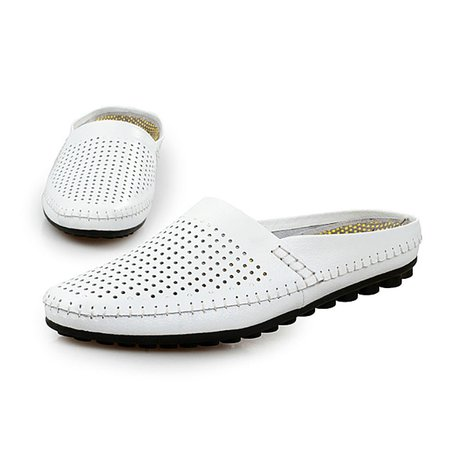 Men Hollow Out Cow Hide Beach Shoes Casual Backless Loafers