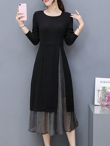 Black Women Elegant Dress Crew Neck Two Piece Long Sleeve Cotton-blend Dress