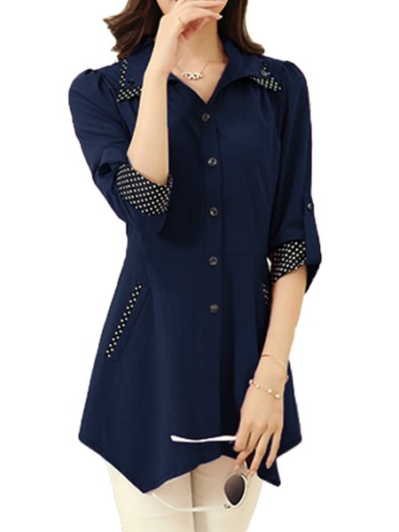Casual Buttoned Cotton-blend Solid Tunic Top