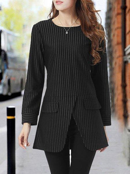 Black Long Sleeve Cotton-blend A-line Tunic Top
