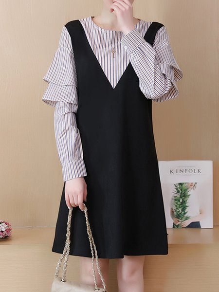 Black Crew Neck Cotton-blend A-line Casual Dress