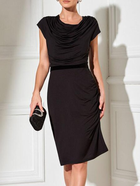 Short Sleeve Crew Neck Solid Casual Dress