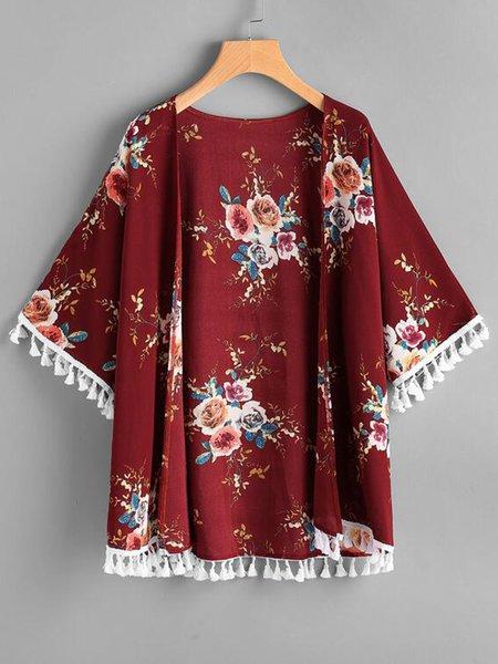 Burgundy Chiffon Floral-print Short Sleeve Kimono