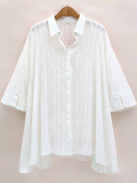 White Shirt Collar Casual Solid Shirt