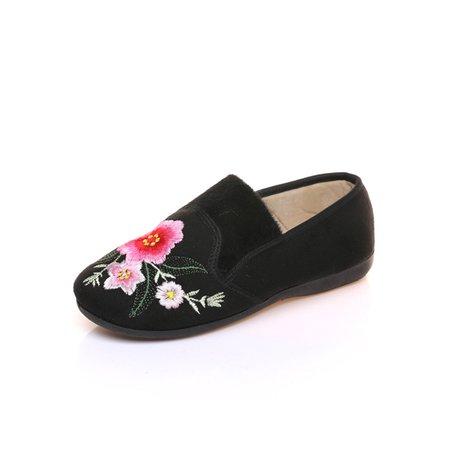 Black Women spring fall Suede Flat Heel FlowerSlipper