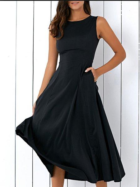Black Women Elegant Dress Crew Neck A-line Sleeveless Solid Dress
