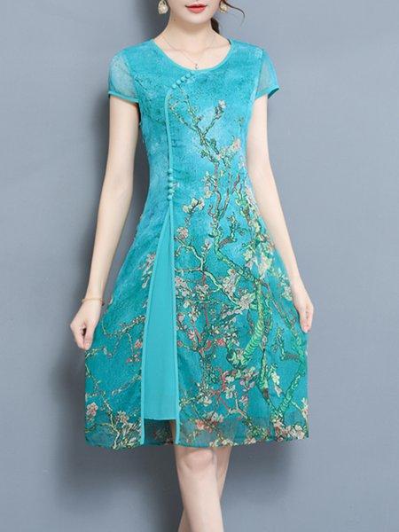 Crew Neck Women Casual Dress A-line Vintage Cotton Dress