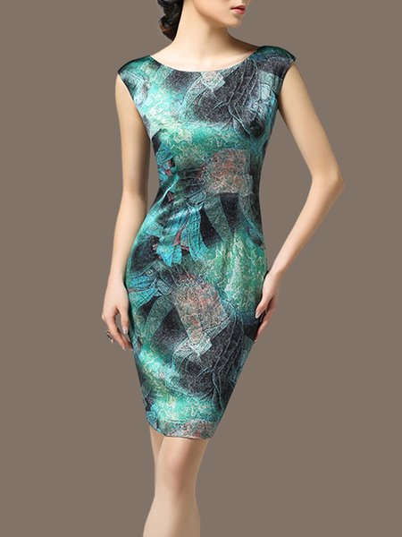 Aqua Women Elegant Dress Bodycon Party Sleeveless Abstract Dress