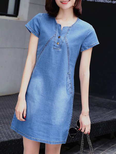 Women Casual Dress Crew Neck Daytime Pockets Plain Dress