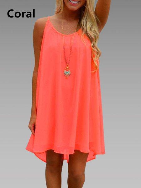 Women Summer Dress High Low Daily Chiffon Solid Dress