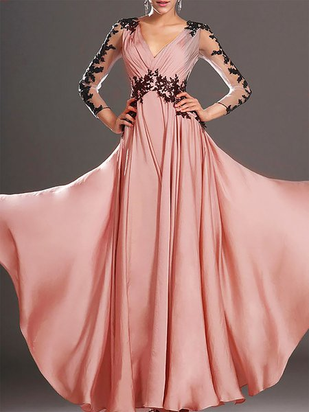 Pink Women Prom Dress V neck Evening Sleeveless Cotton-blend Dress