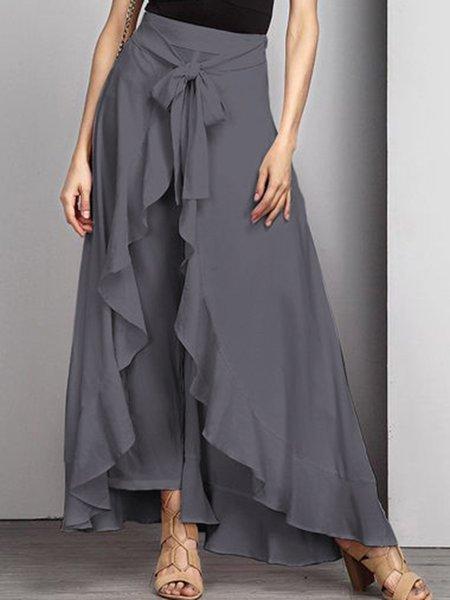 Asymmetric Ruffled Elegant Swing Solid Skirt