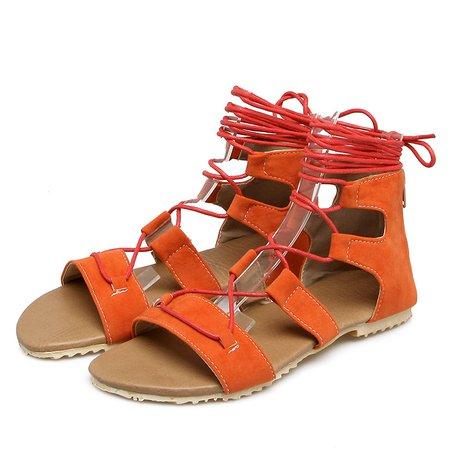 Flat Heel Casual Zipper Flocking Sandals