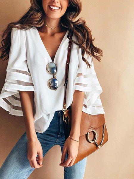 White V neck Plain Balloon Sleeve T-Shirt