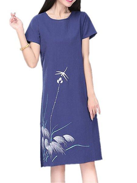 A-line Short Sleeve Casual Print Dresses