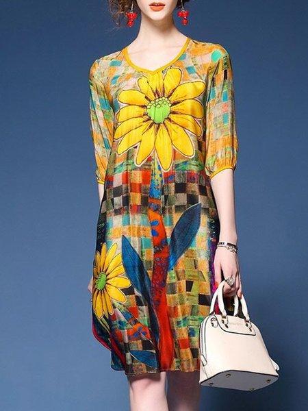 Crew Neck Women Elegant Dress Asymmetrical Daily Half Sleeve Floral Dress