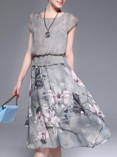 Gray Women Elegant Dress Blouson Daily Casual Paneled Dress