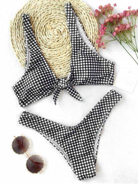 Bow Knot Padded Plaid Plunge Neck Bikini