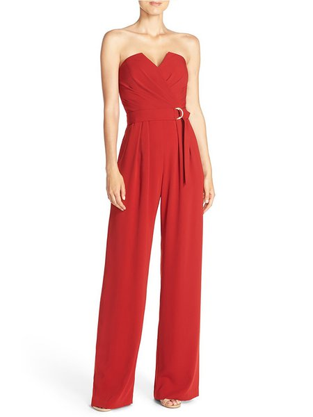 Red Strapless Folds Chiffon Jumpsuit