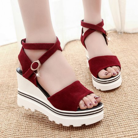 Pure Color Creepers Wedges For Women
