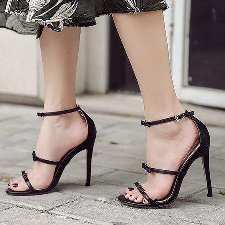 Elegant Bow Tie Ankle Strap Stiletto Sandals Pumps