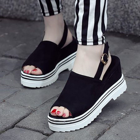 Women Adjustable Buckle Sandals Daily PU Wedges