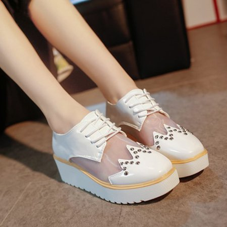 Women Breathable PU Mesh Split Joint Creepers