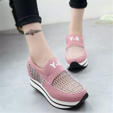 Breathable PU Mesh Split Joint Height Increasing Creepers