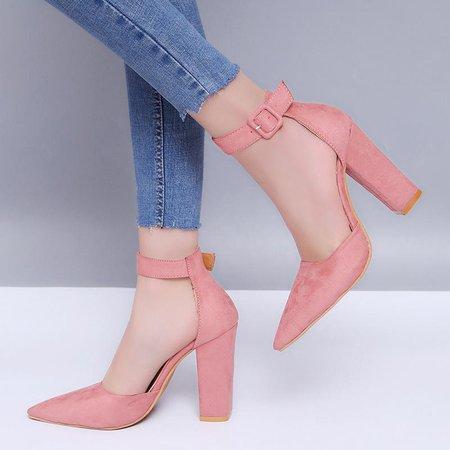 Plus Size Fashion Pure Color Pointed Toe Sandals Pumps