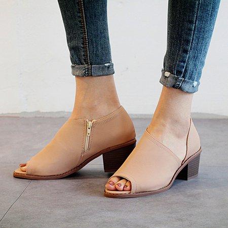 Plus Size Peep Toe Zipper Slip-On Pumps