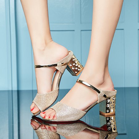 Sexy Elegant Sequin Chunky Heel Party Evening Pumps