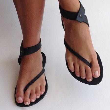 Black Sandals Flip Flops Ankle Wrap Shoes