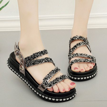 Patent Leather Adjustable Buckle Flat Heel Sandals
