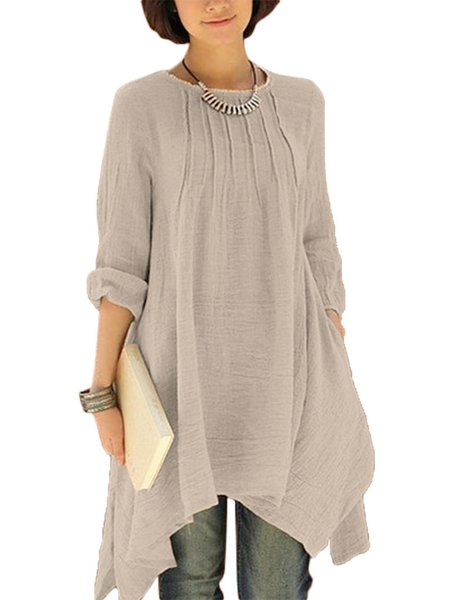 Women Long Sleeve Pure Color Asymmetrical Loose Shirts
