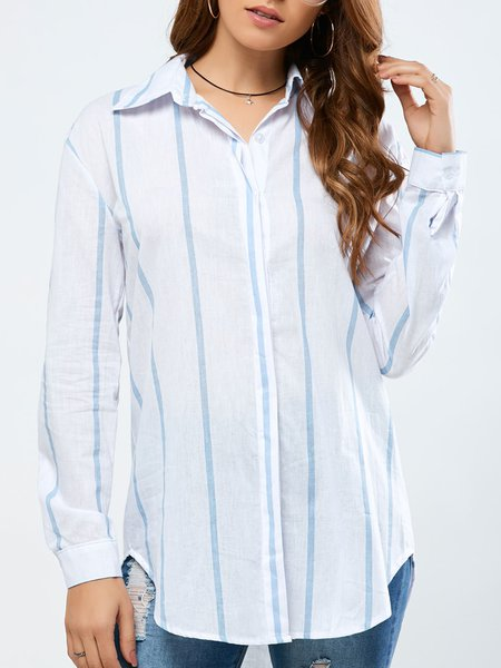 White Stripes Shirt Collar Polyester Casual Shirts