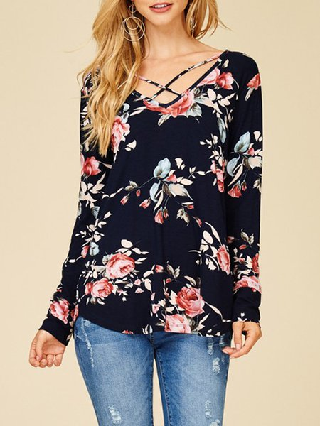 Floral Pattern Long Sleeve V Neck T-Shirts