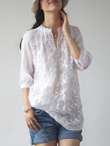 Elegant Women Solid Color Embroidered Shirts