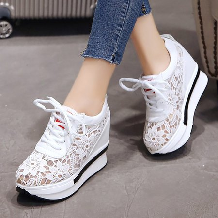 Casual Mesh Lace-up Creepers