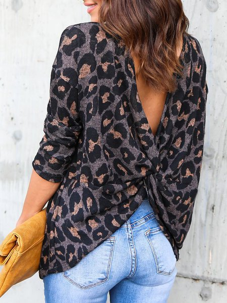 Stylish Backless Leopard Shirts Blouses
