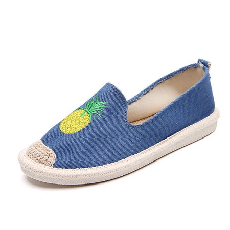 Pattern Canvas Slip On Casual Flats