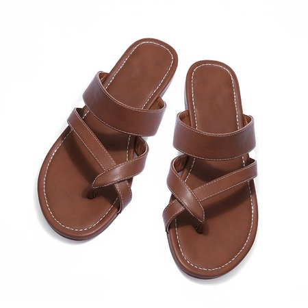 Brown Low Heel Casual Leather Slippers