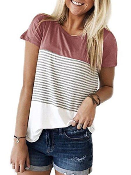 Pink Stitching Stripe Pattern Color-block T-shirt