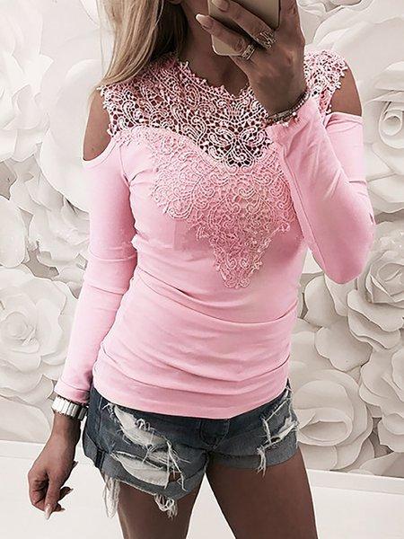 Lace Details Cold Shoulder Sexy T-shirt