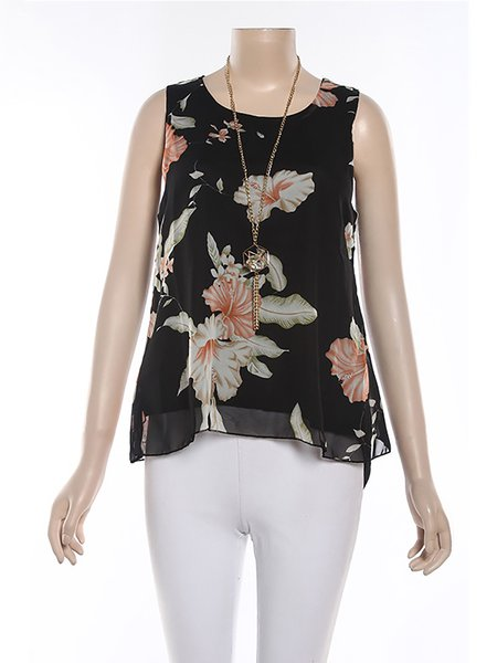 Floral Sleeveless Polyester Casual Crew Neck T-Shirt