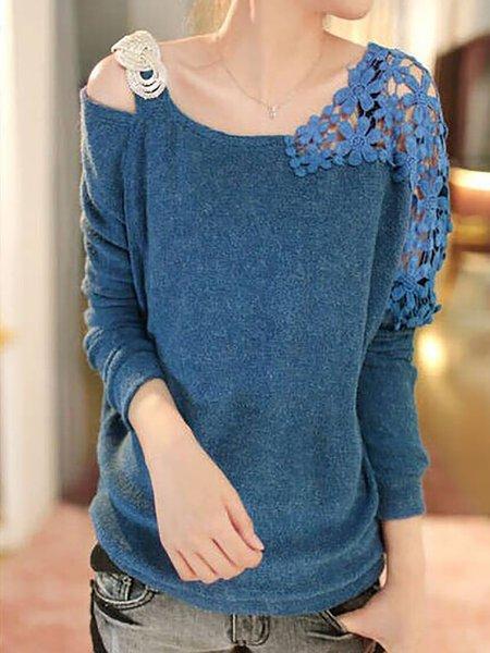 Round Neck Decorative Lace Plain Shirts Blouses