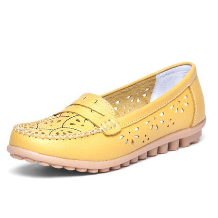 Slip On Hollow-out Flat Heel Leather Shoes