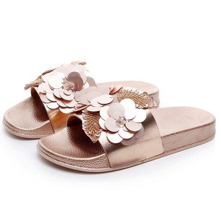 Sequins Embellished Non-Slip Flat Sandals