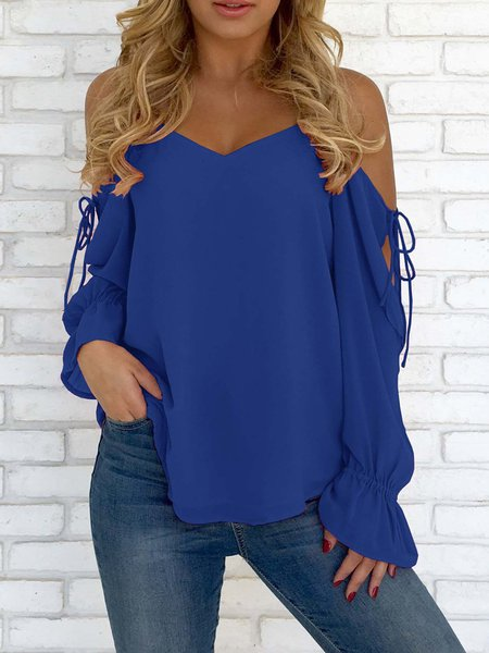 Red V-neck Cold Shoulder Lace-up Chiffon Blouse