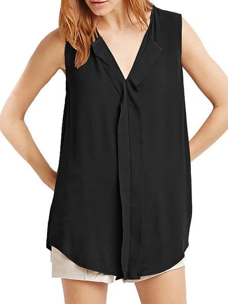 Plus Size V Neck Casual Chiffon Sleeveless T-Shirt